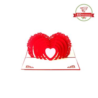3D Heart Christmas Cards